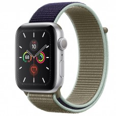 Apple Watch Series 5 44mm Silver Aluminium Case with Khaki Sport Loop (MWU12)