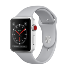 Apple Watch 42mm Series 3 GPS + Cellular Silver Aluminum Case with Fog Sport Band (MQK12)