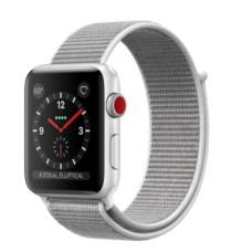 Apple Watch 42mm Series 3 GPS + Cellular Silver Aluminum Case with Seashell Sport Loop (MQK52)