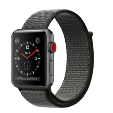 Apple Watch 42mm Series 3 GPS + Cellular Space Gray Aluminum Case with Dark Olive Sport Loop (MQK62)
