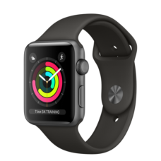 Apple Watch 42mm Series 3 GPS Space Gray Aluminum Case with Black Sport Band (MQL12)