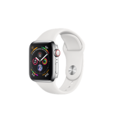 Apple Watch Series 4 GPS + Cellular 40mm Stainless Steel Case with White Sport Band (MTUL2)