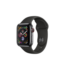 Apple Watch Series 4 GPS + Cellular 40mm Space Black Stainless Steel Case with Black Sport Band (MTUN2)