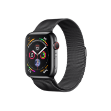Watch Series 4 GPS + Cellular 44mm Space Black Stainless Steel Case with Space Black Milanese Loop (MTV62)