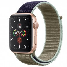 Apple Watch Series 5 44mm Gold Aluminium Case with Khaki Sport Loop (MWU12)