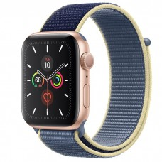 Apple Watch Series 5 44mm Gold Aluminium Case with Alaskan Blue Sport Loop (MX3P2)