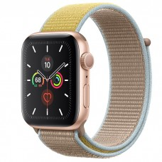 Apple Watch Series 5 44mm Gold Aluminium Case with Camel Sport Loop (MWU22)