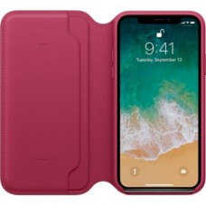 iPhone X Leather Folio - Berry