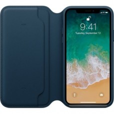 iPhone X Leather Folio - Cosmos Blue
